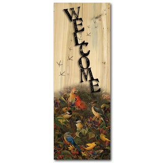 WGI Gallery Berry Bush Songbirds Indoor/Outdoor Welcome Plaque/Sign Printed on Wood