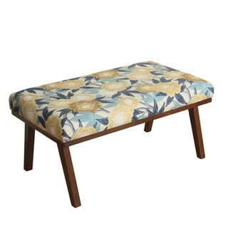 HomePop Mid Mod Floral Decorative Bench