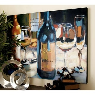 Traditional 36 Inch Wine-Inspired Canvas Wall Art by Studio 350 - Multi-color
