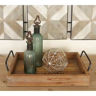 Wood Metal Serving Tray (Set of 2)