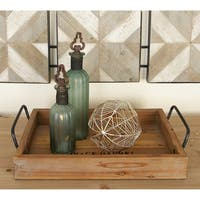 Set of 2 Rustic 2 Inch Wood and Metal Serving Trays by Studio 350