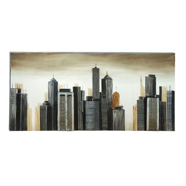 Contemporary Grey and Beige Skyscrapers Canvas Art