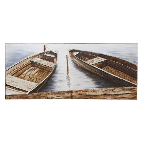 Coastal 71 Inch Boats at Dock Canvas Wall Art by Studio 350 - Brown