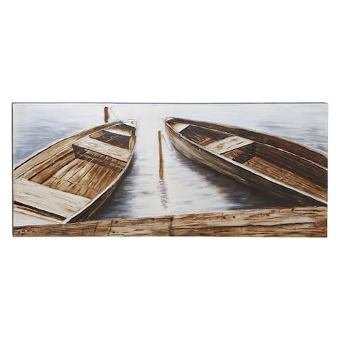 Coastal 71 Inch Boats at Dock Canvas Wall Art by Studio 350 - Brown