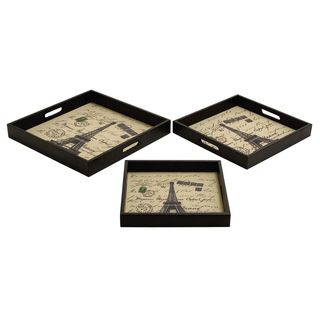 Wood Leather Serving Trays (Set of 3)