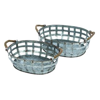 Metal Galvinized Serving Tray (Set of 2)