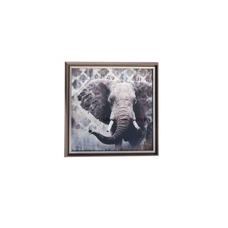 Glass/Resin Framed 27- x 27-inch Elephant Print