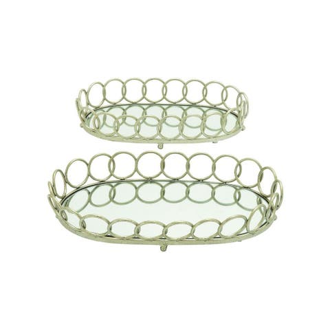 Metal Glass Serving Tray (Set of 2)