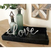 Wood Lthrette Serving Tray (Set of 2)