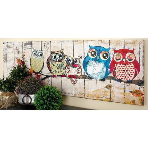 Eclectic 20 X 59 Inch Multicolored Owl Canvas Art by Studio 350 - Multi-color