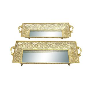 Metal Mirror Serving Tray (Set of 2)