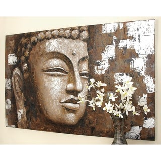 Eclectic 47 Inch Wood and Canvas Buddha Wall Art by Studio 350 - Brown