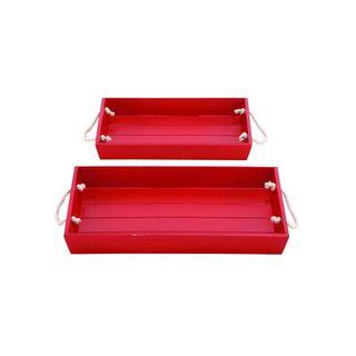 Coastal Living Red Wood Rope Tray (Set of 2)