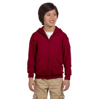 Heavy Blend Boy's Cardinal Red Cotton and Polyester Full-zip Hooded Sweatshirt