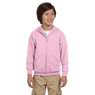 Heavy Blend Boy's Light Pink Full-zip Hooded Sweatshirt