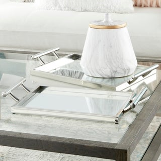 Metal Glass Mir Serving Tray (Set of 2)