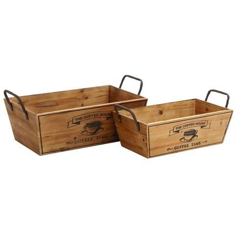 Wood Metal Wine Serving Tray (Set of 2)