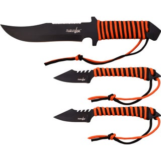 12-Inch Stainless Steel Fixed Blade and 7-Inch Throwing Knife Set