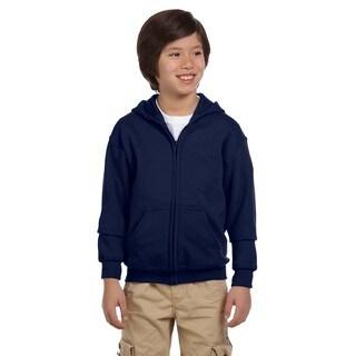 Heavy Blend Boy's Navy Blue Cotton-blended Full-zip Hooded Sweatshirt