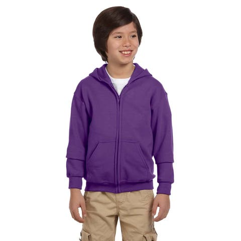 Boys Purple Full-zip Heavy-blend Hooded Sweatshirt