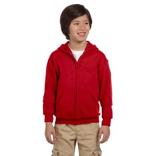Boys Red Full-zip Heavy-blend Hooded Sweatshirt