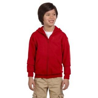 Boys Red Full-zip Heavy-blend Hooded Sweatshirt