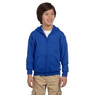 Heavy Blend Boys' Royal Full-Zip Hooded Sweatshirt