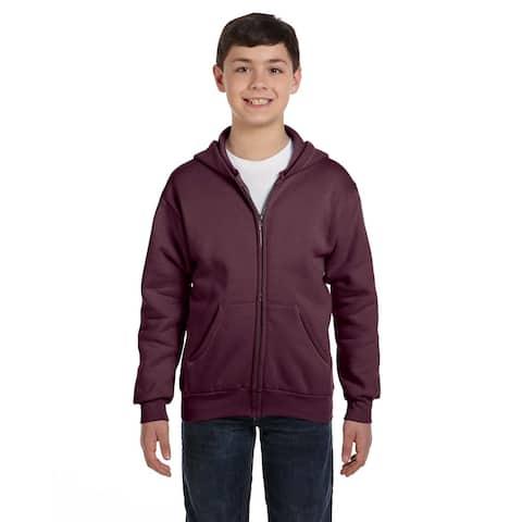 Comfortblend Boy's Maroon Ecosmart Hoodie Full-Zip Sweatshirt