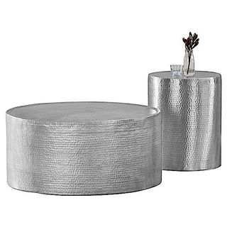Lyric Hammered Side Table/Stool
