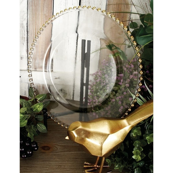 Modern 13 Inch White and Gold Glass Charger Plate by Studio 350
