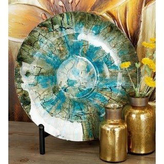 Rustic Mottled Brown and Turquoise Glass Charger Plate with Metal Stand