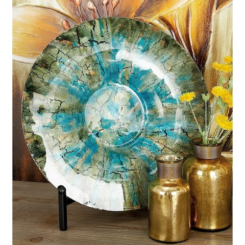 Traditional 18 Inch Glass Decorative Plate with Iron Stand by Studio 350