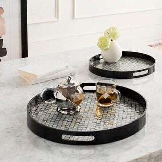 Akio Black & Mother of Pearl Round Decorative 2-Piece Tray Set