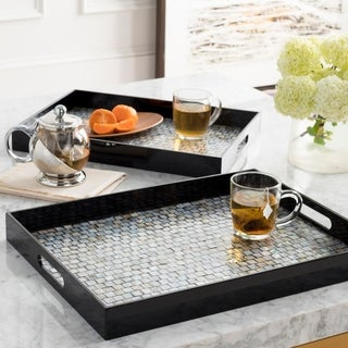 Alai Black & Mother of Pearl Decorative 2-Piece Tray Set