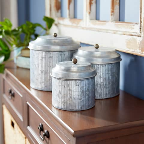 Grey Metal Storage Containers (Set of Three)