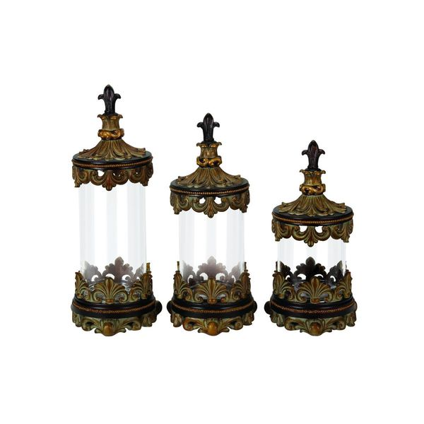 Gold, Brown Glass Storage Containers (Set of Three)