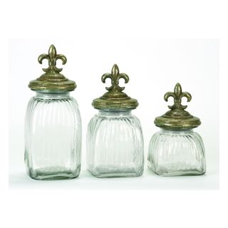 Clear, Gold Glass Storage Containers (Set of Three)