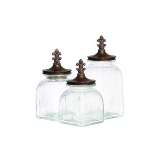 Brown, Clear Glass Storage Containers (Set of Three)