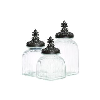 Black Glass Storage Containers (Set of Three)