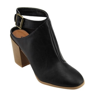 QUPID FC41 Women's Ankle Strap Cutout Back Chunky Stacked Heel Booties