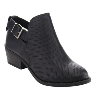 Soda FC63 Women's Western Slip On Perforated Stacked Block Heel Ankle Booties