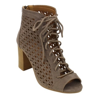 QUPID FC33 Women's Perforated Lace Up Cut Out Ankle Booties