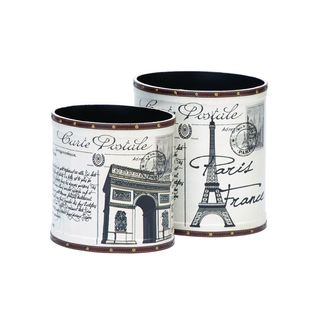 White, Black Wood Trash Can (Set of Two)