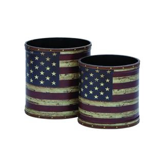 Red, White Wood Trash Can (Set of Two)