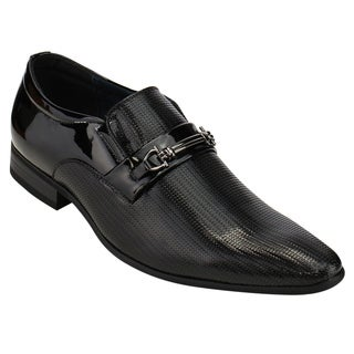 UV SIGNATURE FC79 Men's Sliver-tone Metal Decor Slip On Formal Dress Shoes