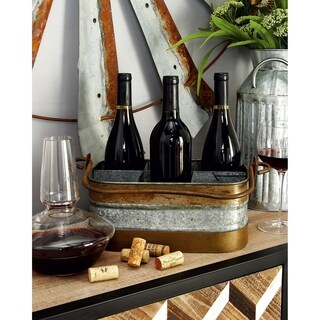 Farmhouse 12 x 14 Inch Metal 6-Bottle Wine Caddy by Studio 350