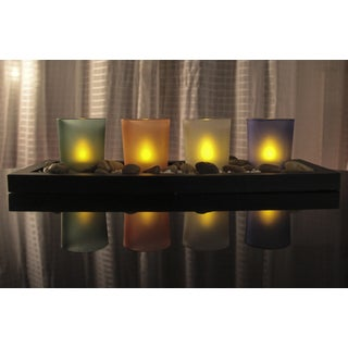 Modern Design Set of 4 Flameless LED Candles with Tray