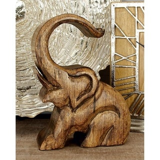 Eclectic 10 x 7 Inch Brown Wood Elephant Wine Holder by Studio 350