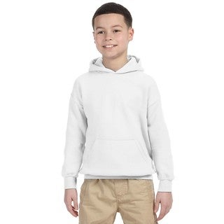 Boy's White Heavy-blend Hooded Sweatshirt