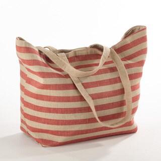 Taleen Collection Striped Design Jute Handbag